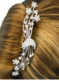 W10581HJ - MOON & FLOWERS<br>AUSTRIAN CRYSTAL HAIR COMB<Br>         FROM $11.25 TO $25.00