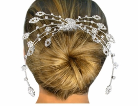 W10582HJ - POLISHED SILVER TONE<br>      AUSTRIAN CRYSTAL ACCENTED<Br> HAIR PIECE FROM $19.13 TO $42.50