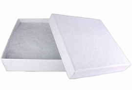 "W10734JB - WHITE 3 5/8""<Br>   SQUARE JEWELRY BOX<Br> YOUR LOW PRICE IS $.93"