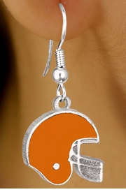 W10930E - ORANGE FOOTBALL HELMET<br>             EARRINGS AS LOW AS $2.40
