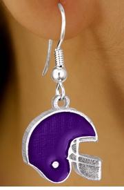 W10931E - PURPLE FOOTBALL HELMET<br>             EARRINGS AS LOW AS $2.40