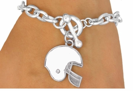 W10933B - WHITE FOOTBALL HELMET<br> TOGGLE BRACELET AS LOW AS $2.45