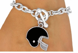 W10934B - BLACK FOOTBALL HELMET<br>  TOGGLE BRACELET AS LOW AS $2.45