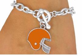 W10936B - ORANGE FOOTBALL HELMET<br>    TOGGLE BRACELET AS LOW AS $2.45