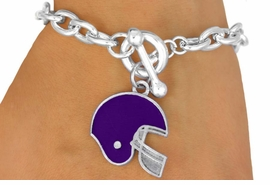 W10937B - PURPLE FOOTBALL HELMET<br>   TOGGLE BRACELET AS LOW AS $2.45