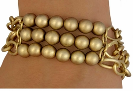 <bR>     W11064BA - 2-COLOR MATTE FINISH<br>TRIPLE-CHAIN THREE-ROW BALL CENTER<Br> SEMI-STRETCH BRACELET ASSORTMENT<Br>                          AS LOW AS $3.90