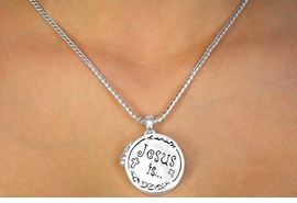 "W11236N - ""JESUS IS THE WAY...<br>  ...TO HEAVEN"" ROUND LOCKET<br> NECKLACE FROM $5.90 TO $12.50"