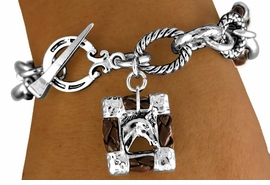 "<br>   W11288B - BROWN ""ROPE"" RINGLETS &<BR>FRAMED ""HORSE PICTURE"" CHARM TOGGLE<br>                 BRACELET AS LOW AS $4.85"