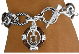 "W11289B - BROWN ""ROPE"" RINGLETS &<BR>HORSESHOE CHARM TOGGLE  BRACELET<BR>                           AS LOW AS $4.85"
