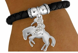 "W11301B - ""BREAKING IN THE BRONCO""<Br>  & AUSTRIAN CRYSTAL COWBOY BOOT<Br>  STRETCH BRACELET AS LOW AS $3.90"