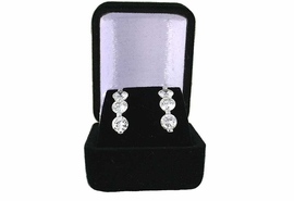 W11310JB - SMALL BLACK VELVET<Br>            EARRING JEWELRY BOX<Br>         YOUR LOW PRICE IS $1.19