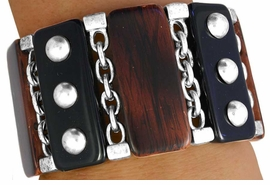 <bR>W11327BA - 3-STYLE FAUX WOOD &<Br>   BLACK RECTANGLE TILE STRETCH<br>            BRACELET ASSORTMENT<br>                    AS LOW AS $11.25