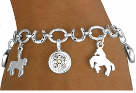 <Br>  W11341B - HORSESHOE & OVAL LINK<Br>  HORSE & RIDER CHARM & AUSTRIAN<br>CRYSTAL MEDALLION DROP BRACELET<br>                         AS LOW AS $5.20