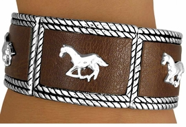 W11533B - GENUINE BROWN LEATHER<bR>     WITH RUNNING HORSES STRETCH<BR>           BRACELET AS LOW AS $5.85