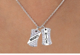 "<Br>   W11577N - GENUINE AUSTRIAN CRYSTAL<br>""NAUGHTY/NICE"" DOUBLE PENDANT DROP<Br>                NECKLACE AS LOW AS $4.60"