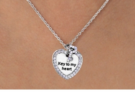 "<BR>  W11580N - ""KEY TO MY HEART""<Br>AUSTRIAN CRYSTAL HEART & KEY<Br>     NECKLACE AS LOW AS $4.60"