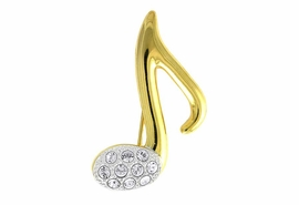 W11604P - TWO-TONE AUSTRIAN CRYSTAL<br>         MUSIC NOTE PIN AS LOW AS $5.20