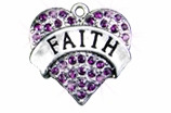 "W1212SC - PURPLE CRYSTAL ""FAITH"" HEART<BR><FONT size=""2"">Buy 1-2 for $4.25 Each<br>Buy 3-5 for $4.15 Each<br>Buy 6-11 for $3.65 Each<br>Buy 12-23 for $3.45 Each<br>Buy 24-49 for $3.25 Each<br>Buy 50 or More for $3.09 Each</font>"