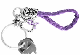 "<br>      W12714KC - GENUINE PURPLE<Br>   AUSTRIAN CRYSTAL AWARENESS<Br>   RIBBON AND ""HEAL HOPE FAITH""<Br>HEART KEY CHAIN AS LOW AS $3.90"