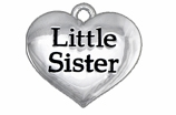 "W1296SC - ""LITTLE SISTER"" HEART<BR> <FONT size=""2"">Buy 1-2 for $4.05 Each<br>Buy 3-5 for $3.65 Each<br>Buy 6-11 for $3.55 Each<br>Buy 12-23 for $3.45 Each<br>Buy 24-49 for $3.35 Each<br>Buy 50 or More for $3.25 Each<br>Buy 100 or More for $2.35 Each</font>"