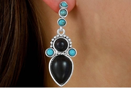 W14082EA - SYNTHETIC WOOD &<Br>  TURQUOISE ACCENTED 3-STYLE<Br>           EARRING ASSORTMENT<br>                  AS LOW AS $6.83
