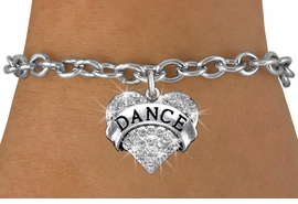 "<BR>      WHOLESALE DANCE BRACELET<bR>                EXCLUSIVELY OURS!! <Br>           AN ALLAN ROBIN DESIGN!! <BR>  CLICK HERE TO SEE 1000+ EXCITING <BR>        CHANGES THAT YOU CAN MAKE! <BR>     LEAD, NICKEL & CADMIUM FREE!! <BR> W1414SB - SILVER TONE ""DANCE"" CLEAR <BR>    CRYSTAL HEART CHARM & BRACELET <BR>         FROM $5.40 TO $9.85 �2013"