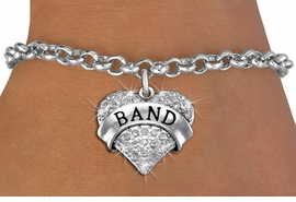 "<bR>               EXCLUSIVELY OURS!! <Br>          AN ALLAN ROBIN DESIGN!! <BR> CLICK HERE TO SEE 1000+ EXCITING <BR>       CHANGES THAT YOU CAN MAKE! <BR>    LEAD, NICKEL & CADMIUM FREE!! <BR> W1416SB - SILVER TONE ""BAND"" CLEAR <BR>   CRYSTAL HEART CHARM & BRACELET <BR>        FROM $5.40 TO $9.85 �2013"