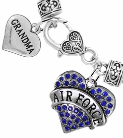 "<Br>         WHOLESALE AIR FORCE JEWELRY  <BR>                AN ALLAN ROBIN DESIGN!! <Br>          CADMIUM, LEAD & NICKEL FREE!!  <Br> W1477-1832B1 - ""AIR FORCE - GRANDMA"" HEART  <BR>  CHARMS ON HEART LOBSTER CLASP BRACELET <BR>            FROM $7.50 TO $9.50 �2016"