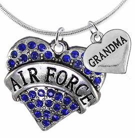 "<Br>         WHOLESALE AIR FORCE JEWELRY  <BR>                AN ALLAN ROBIN DESIGN!! <Br>          CADMIUM, LEAD & NICKEL FREE!!  <Br>W1477-1832N2 - ""AIR FORCE - GRANDMA"" HEART  <BR>  CHARMS ON LOBSTER CLASP SNAKE CHAIN NECKLACE <BR>        FROM $8.50 TO $10.50 �2016"