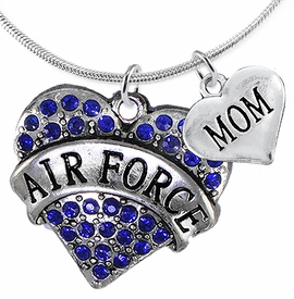 "<Br>         WHOLESALE AIR FORCE JEWELRY  <BR>                AN ALLAN ROBIN DESIGN!! <Br>          CADMIUM, LEAD & NICKEL FREE!!  <Br>W1477-1837N2 - ""AIR FORCE - MOM"" HEART  <BR>  CHARMS ON LOBSTER CLASP SNAKE CHAIN NECKLACE <BR>        FROM $8.50 TO $10.50 �2016"