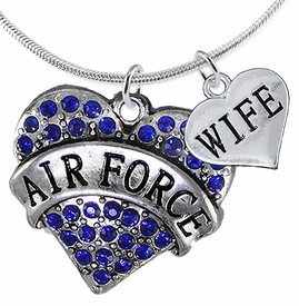 "<Br>         WHOLESALE AIR FORCE JEWELRY  <BR>                AN ALLAN ROBIN DESIGN!! <Br>          CADMIUM, LEAD & NICKEL FREE!!  <Br>W1477-1876N2 - ""AIR FORCE - WIFE"" HEART  <BR>  CHARMS ON LOBSTER CLASP SNAKE CHAIN NECKLACE <BR>        FROM $8.50 TO $10.50 �2016"
