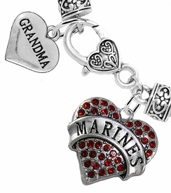 "<Br>     WHOLESALE USMC MARINES JEWELRY  <BR>                AN ALLAN ROBIN DESIGN!! <Br>          CADMIUM, LEAD & NICKEL FREE!!  <Br> W1478-1832B1 - ""MARINES - GRANDMA"" HEART  <BR>  CHARMS ON HEART LOBSTER CLASP BRACELET <BR>            FROM $7.50 TO $9.50 �2016"