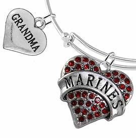 "<Br>         WHOLESALE USMC MARINES JEWELRY  <BR>                AN ALLAN ROBIN DESIGN!! <Br>          CADMIUM, LEAD & NICKEL FREE!!  <Br> W1478-1832B9 - ""MARINES - GRANDMA"" HEART  <BR>CHARMS ON THIN ADJUSTABLE WIRE BRACELET <BR>            FROM $7.50 TO $9.50 �2016"