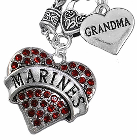 "<Br>         WHOLESALE USMC MARINES JEWELRY   <BR>                AN ALLAN ROBIN DESIGN!!  <Br>          CADMIUM, LEAD & NICKEL FREE!!   <Br>W1478-1832N10 - ""MARINES - GRANDMA"" HEART   <BR>CHARMS ON CLASP OF HEART LOBSTER CLASP CHAIN  <BR>   NECKLACE FROM $8.50 TO $10.50 �2016"