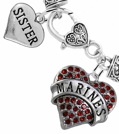 "<Br>     WHOLESALE USMC MARINES JEWELRY  <BR>                AN ALLAN ROBIN DESIGN!! <Br>          CADMIUM, LEAD & NICKEL FREE!!  <Br> W1478-1833B1 - ""MARINES - SISTER"" HEART  <BR>  CHARMS ON HEART LOBSTER CLASP BRACELET <BR>            FROM $7.50 TO $9.50 �2016"
