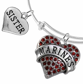 "<Br>         WHOLESALE USMC MARINES JEWELRY  <BR>                AN ALLAN ROBIN DESIGN!! <Br>          CADMIUM, LEAD & NICKEL FREE!!  <Br> W1478-1833B9 - ""MARINES - SISTER"" HEART  <BR>CHARMS ON THIN ADJUSTABLE WIRE BRACELET <BR>            FROM $7.50 TO $9.50 �2016"