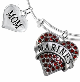 "<Br>         WHOLESALE USMC MARINES JEWELRY  <BR>                AN ALLAN ROBIN DESIGN!! <Br>          CADMIUM, LEAD & NICKEL FREE!!  <Br> W1478-1837B9 - ""MARINES - MOM"" HEART  <BR>CHARMS ON THIN ADJUSTABLE WIRE BRACELET <BR>            FROM $7.50 TO $9.50 �2016"