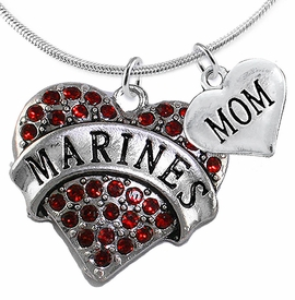 "<Br>         WHOLESALE USMC MARINES JEWELRY  <BR>                AN ALLAN ROBIN DESIGN!! <Br>          CADMIUM, LEAD & NICKEL FREE!!  <Br>W1478-1837N2 - ""MARINES - MOM"" HEART  <BR>  CHARMS ON LOBSTER CLASP SNAKE CHAIN NECKLACE <BR>        FROM $8.50 TO $10.50 �2016"