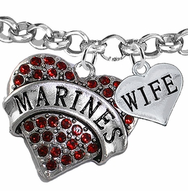 "<Br>         WHOLESALE USMC MARINES JEWELRY  <BR>                AN ALLAN ROBIN DESIGN!! <Br>          CADMIUM, LEAD & NICKEL FREE!!  <Br> W1478-1876B2 - ""MARINES - WIFE"" HEART  <BR>CHARMS ON LOBSTER CLASP ROLLO CHAIN BRACELET <BR>            FROM $7.50 TO $9.50 �2016"