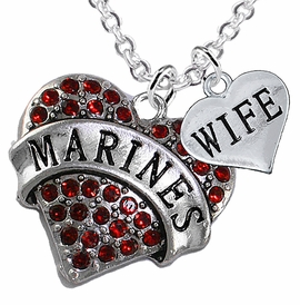 "<Br>         WHOLESALE USMC MARINES JEWELRY  <BR>                AN ALLAN ROBIN DESIGN!! <Br>          CADMIUM, LEAD & NICKEL FREE!!  <Br>W1478-1876N1 - ""MARINES - WIFE"" HEART  <BR>  CHARMS ON LOBSTER CLASP CHAIN NECKLACE <BR>        FROM $8.50 TO $10.50 �2016"
