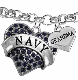 "<Br>         WHOLESALE NAVY MILITARY JEWELRY  <BR>                AN ALLAN ROBIN DESIGN!! <Br>          CADMIUM, LEAD & NICKEL FREE!!  <Br> W1479-1832B2 - ""NAVY - GRANDMA"" HEART  <BR>CHARMS ON LOBSTER CLASP ROLLO CHAIN BRACELET <BR>            FROM $7.50 TO $9.50 �2016"