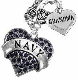 "<Br>         WHOLESALE NAVY MILITARTY JEWELRY   <BR>                AN ALLAN ROBIN DESIGN!!  <Br>          CADMIUM, LEAD & NICKEL FREE!!   <Br>W1479-1832N10 - ""NAVY - GRANDMA"" HEART   <BR>CHARMS ON CLASP OF HEART LOBSTER CLASP CHAIN  <BR>   NECKLACE FROM $8.50 TO $10.50 �2016"
