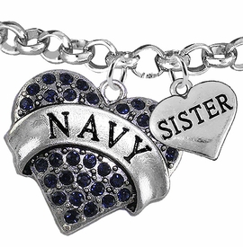 "<Br>         WHOLESALE NAVY MILITARY JEWELRY  <BR>                AN ALLAN ROBIN DESIGN!! <Br>          CADMIUM, LEAD & NICKEL FREE!!  <Br> W1479-1833B2 - ""NAVY - SISTER"" HEART  <BR>CHARMS ON LOBSTER CLASP ROLLO CHAIN BRACELET <BR>            FROM $7.50 TO $9.50 �2016"