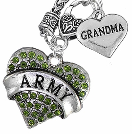 "<Br>      WHOLESALE ARMY MILITARY JEWELRY  <BR>                AN ALLAN ROBIN DESIGN!! <Br>          CADMIUM, LEAD & NICKEL FREE!!  <Br>W1480-1832N10 - ""ARMY - GRANDMA"" HEART  <BR>CHARMS ON CLASP OF HEART LOBSTER CLASP CHAIN <BR>    NECKLACE FROM $8.50 TO $10.50 �2016"