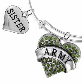 "<Br>         WHOLESALE ARMY MILITARY JEWELRY  <BR>                AN ALLAN ROBIN DESIGN!! <Br>          CADMIUM, LEAD & NICKEL FREE!!  <Br> W1480-1833B9 - ""ARMY - SISTER"" HEART  <BR>CHARMS ON THIN ADJUSTABLE WIRE BRACELET <BR>            FROM $7.50 TO $9.50 �2016"