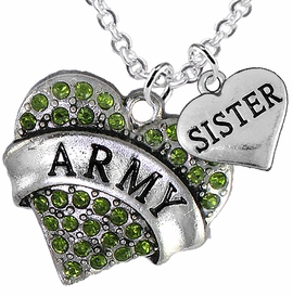 "<Br>      WHOLESALE ARMY MILITARY JEWELRY  <BR>                AN ALLAN ROBIN DESIGN!! <Br>          CADMIUM, LEAD & NICKEL FREE!!  <Br>W1480-1833N1 - ""ARMY - SISTER"" HEART  <BR>  CHARMS ON LOBSTER CLASP CHAIN NECKLACE <BR>        FROM $8.50 TO $10.50 �2016"