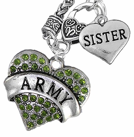 "<Br>      WHOLESALE ARMY MILITARY JEWELRY  <BR>                AN ALLAN ROBIN DESIGN!! <Br>          CADMIUM, LEAD & NICKEL FREE!!  <Br>W1480-1833N10 - ""ARMY - SISTER"" HEART  <BR>CHARMS ON CLASP OF HEART LOBSTER CLASP CHAIN <BR>    NECKLACE FROM $8.50 TO $10.50 �2016"