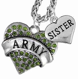 "<Br>             WHOLESALE ARMY MILITARY JEWELRY   <BR>                     AN ALLAN ROBIN DESIGN!!  <Br>               CADMIUM, LEAD & NICKEL FREE!!   <Br> W1480-1833N14 - ""ARMY - SISTER"" HEART   <BR>CHARMS ON CHAIN OF HEART LOBSTER CLASP CHAIN  <BR>         NECKLACE FROM $8.50 TO $10.50 �2016"