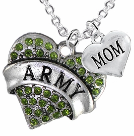 "<Br>      WHOLESALE ARMY MILITARY JEWELRY  <BR>                AN ALLAN ROBIN DESIGN!! <Br>          CADMIUM, LEAD & NICKEL FREE!!  <Br>W1480-1837N1 - ""ARMY - MOM"" HEART  <BR>  CHARMS ON LOBSTER CLASP CHAIN NECKLACE <BR>        FROM $8.50 TO $10.50 �2016"
