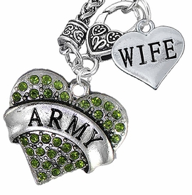 "<Br>      WHOLESALE ARMY MILITARY JEWELRY  <BR>                AN ALLAN ROBIN DESIGN!! <Br>          CADMIUM, LEAD & NICKEL FREE!!  <Br>W1480-1876N10 - ""ARMY - WIFE"" HEART  <BR>CHARMS ON CLASP OF HEART LOBSTER CLASP CHAIN <BR>    NECKLACE FROM $8.50 TO $10.50 �2016"